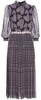 Giamba Embellished Printed Silk Midi Dress
