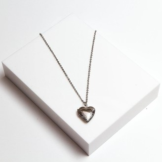 Johnny Loves Rosie Women 900 Platinum Pendant of Length 47cm Gracie Silver Heart Locket Necklace