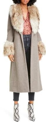 Cinq à Sept Irina Faux Fur Trim Midi Coat