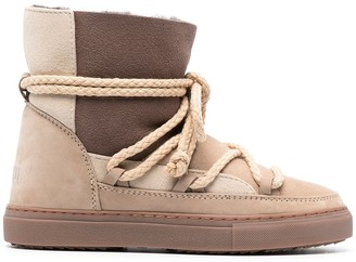 INUIKII Lace-Up Shearling-Lined Boots
