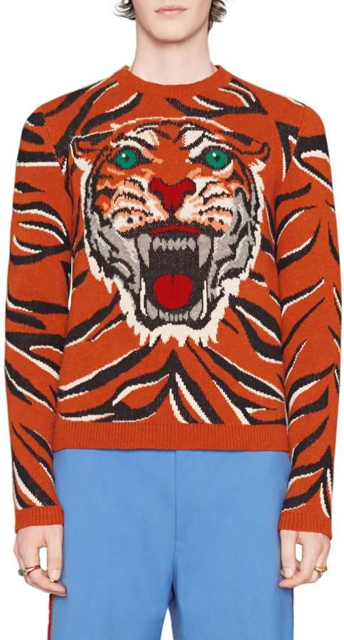 Gucci Tiger Print Wool Crewneck Sweater