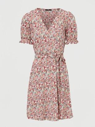 Very Plisse Floral Wrap Mini Dress - Pink Print