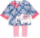 Rare Editions Baby Girls 3-24 Months Medallion-Print Elephant Top & Leggings Set