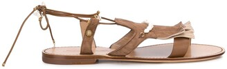 Santoni Open Toe Beaded-Fringed Sandals