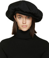 Yohji Yamamoto Black Oversized Bowie Newsboy Cap