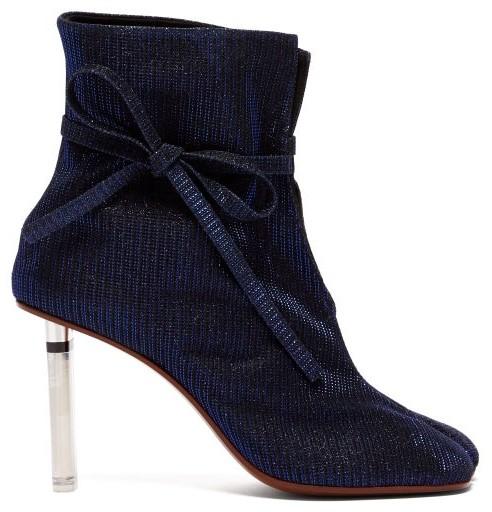Vetements Geisha Split Toe Lighter Heel Ankle Boots - Womens - Navy