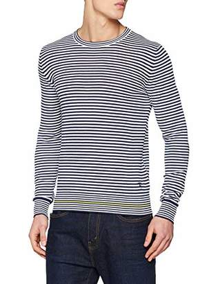 Trussardi Jeans Men's Round Neck Pure Cotton Crepe Slim Fit Jumper,S