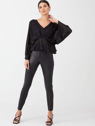 Very Burnout Lurex Stripe Kimono Blouse - Black