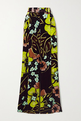 Dries Van Noten Podium Printed Velvet Wide-leg Pants - Lime green