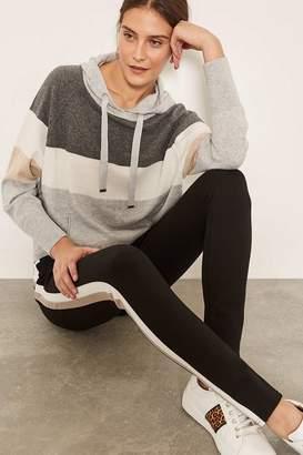 Mint Velvet Womens Black Contrast Stripe Ponte Legging - Black