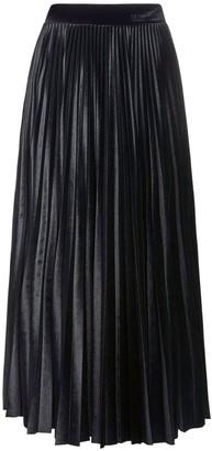 Valentino Pleated Velour Midi Skirt W/ Logo Detail