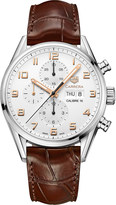 Tag Heuer CV2A1ACFC6380 Carrera stainless steel and leather chronograph watch
