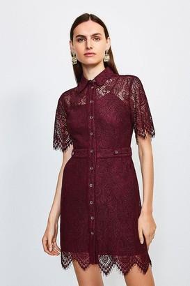 Karen Millen Lace Short Sleeved Mini Dress
