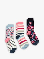 Joules Brilliant Bamboo Flowers and Stripes Ankle Socks, Pack of 3, Multi