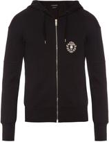 Alexander McQueen Crest-appliqué zip-up cotton hooded sweatshirt
