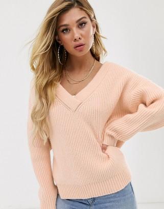 Asos Design DESIGN chunky off shoulder sweater with v neck-Pink