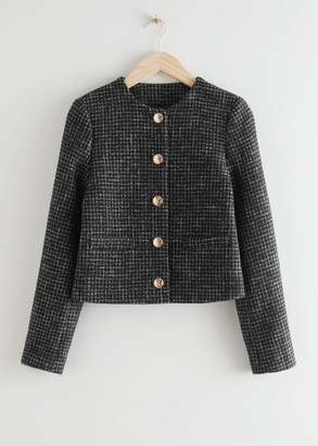 And other stories Cropped Gold Button Suit Jacket