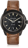 Trussardi T01 Gent Black Stainless Steel w/Brown Croco Strap Men's Automatic Watch