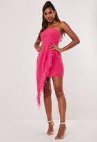 Missguided Pink Feather Bandeau Wrap Mini Dress