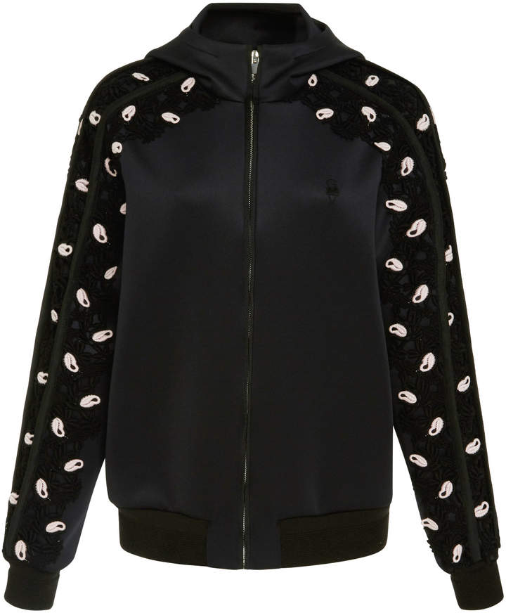 Giambattista Valli Floral Appliqué Zip-Up Ponte Hoodie
