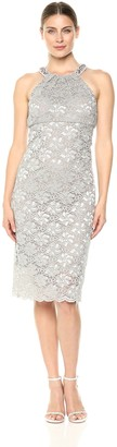 Alex Evenings Women's Midi Cocktail Dress with Beaded Halter Neck and Scallop Hem