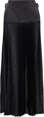 Alexandre Vauthier Buckled Pleated Silk-blend Satin Maxi Wrap Skirt