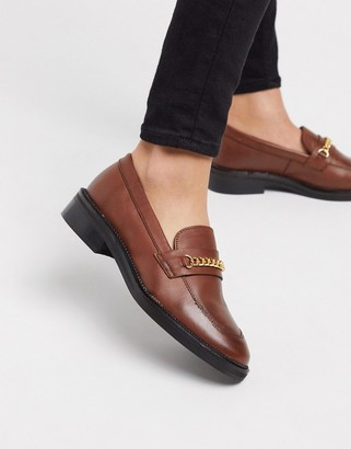 ASOS DESIGN Mixture leather chain loafers in cognac