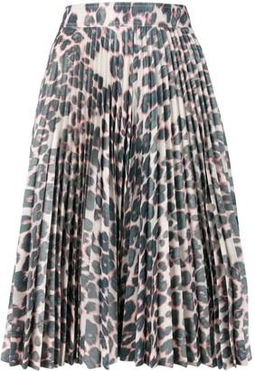 Calvin Klein Pleated Leopard Skirt