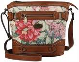 b.ø.c. Womens Floral Park Crossbody Dusty Pink Floral/Saddle One Size