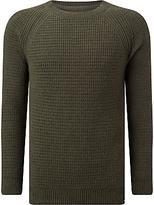 Edwin Purl Knit Crew Neck Jumper, Uniform Green