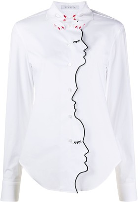 VIVETTA Embroidered-Face Placket Shirt