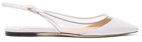 Jimmy Choo Erin Leather And Pvc Slingback Flats - Womens - White