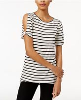 Bar III Striped Cold-Shoulder T-Shirt, Created for Macy's