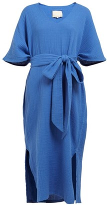 Anaak - Kai Raw-edged Cotton Kaftan - Womens - Blue
