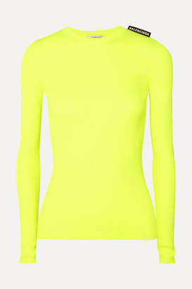 Balenciaga Neon Ribbed-knit Top - Yellow