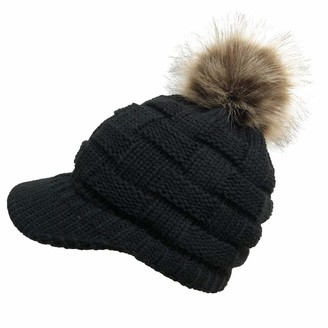Whycat Pom Knit Hat Winter Beanie Hats with Brim Warm Knitted Hat with Pom Pom Beret Winter Wool Hat