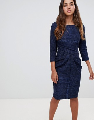 Closet London draped skirt bodycon dress-Navy