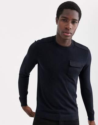 Ted Baker merino military jumper with pocket in navy