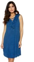 Quiz Dark Blue Denim Frill Lace Up Dress