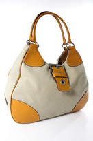 Prada Tan Canvas Yellow Leather Trim Medium Shoulder Handbag
