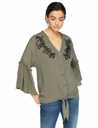 Democracy Women's 3/4 Sleeve Embroidered Blouse w Tie Front