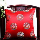 Chinese Classical Pastoral Office Of the Cushion Lumbar Pillow Sofa Beds Hold Back Car Waist Cushion Pillow Cover Red Character 50X50cm(pillowcase)
