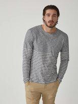 Frank + Oak Multi-Stripe Cotton Crewneck T-Shirt in Navy