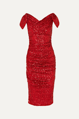 Dolce & Gabbana Off-the-shoulder Ruched Sequined Tulle Dress - Red