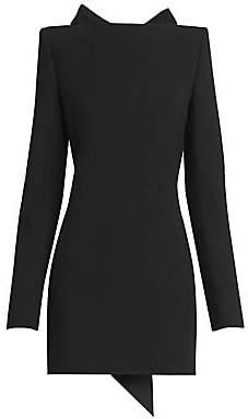 Saint Laurent Women's Open-Back Bow Wool Mini Dress