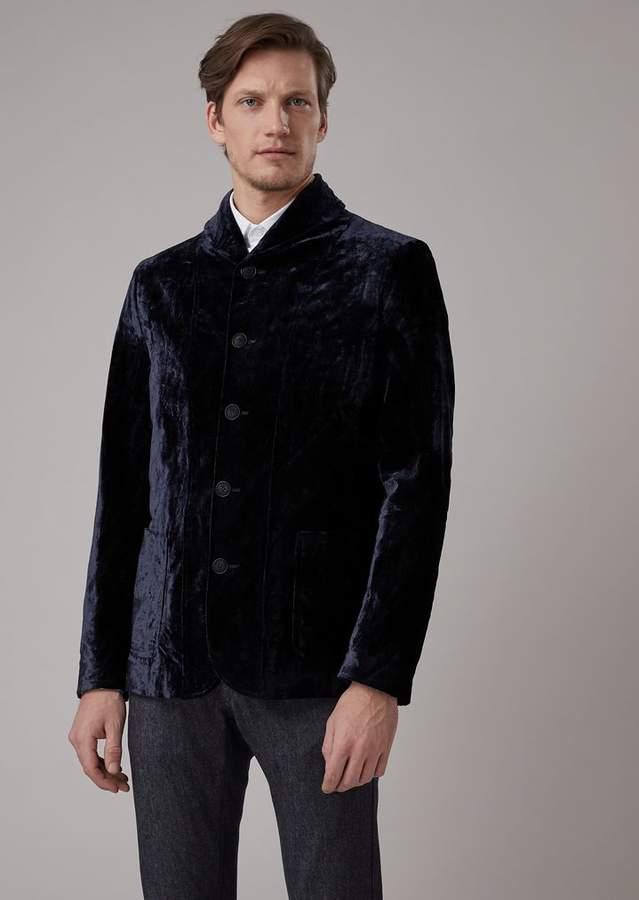 Giorgio Armani Slim-Fit Flocked Panne Jacket With Shawl Collar