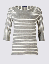 M&S Collection PLUS Cotton Rich Striped 3/4 Sleeve T-Shirt