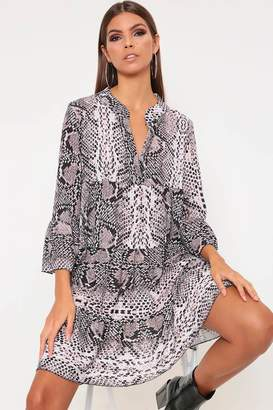 I SAW IT FIRST Grey Snake Print Flared Sleeve Smock Dress