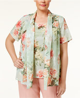Alfred Dunner Plus Size Botanical Garden Collection Layered-Look Necklace Top
