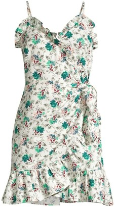 Rebecca Taylor Printed Ruffle Wrap Dress